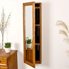 """$159 Wildon Home ® Bullock 48"""" High Wall Mount Jewelry Mirror in Oak.   Would want to paint it white..."""