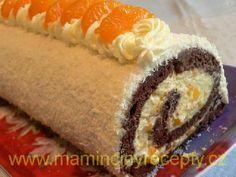 Mandarinková roláda s kokosem Sushi, Ethnic Recipes, Cake Rolls, Sweets, Cakes, Crack Crackers, Candy, Deserts, Mince Pies