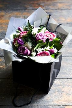 posy bouquet in gift box