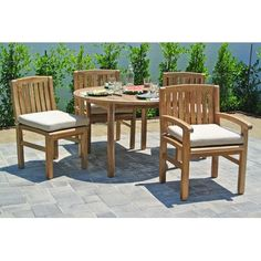 Willow Creek Designs Huntington 5 Piece Dining Set with Cushions Cushion Color: Sapphire