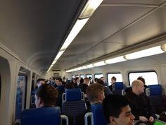 A train full of missionaries headed to the airport. Elder Mateos says they are the first missionaries to transfer from the MTC on the Frontrunner.