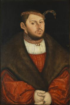 Lucas Cranach the Elder (German, 1472-1553), Portrait of Crown Prince Johann Friedrich of Saxony, 1526. Oil on wood, 56 x 38 cm.