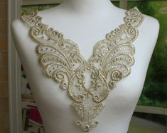 Gold Applique with Rhinestone  Venise Lace for by MakingPlus, $5.60