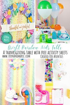 Create a non-traditional Thanksgiving table for the kids incorporating all the beautiful colors of the rainbow they love so much! #fun365 #thanksgivingparty #rainbow #kidsparty #thanksgiving #partyideas #fernandmapleparties