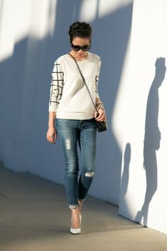 love the sleeves; white heels are very in right now... not sure if I can get with that. we'll see.