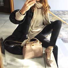 Good afternoon in pants sweater coat in by and mini happy Sunday everyone by mjsicilia Fashion Line, Fashion Looks, Cool Outfits, Fashion Outfits, Womens Fashion, Valentino Rockstud Flats, Valentino Shoes, Fendi Peekaboo Mini, Viernes Casual