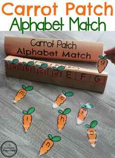 Easter Activities for Preschool - Carrot Patch Alphabet Match letter Recognition Game. Easter Activities For Preschool, April Preschool, Preschool Garden, Farm Activities, Preschool Lessons, Spring Activities, Preschool Learning, Preschool Activities, Exercise Activities