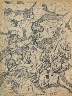 E. Besozzi pitt. 1959  Forme china su carta cm 40x30 arc. 365