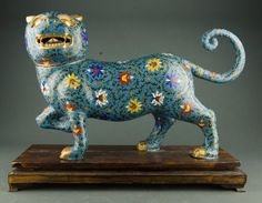 Fine Chinese Cloisonne Tiger on Stand