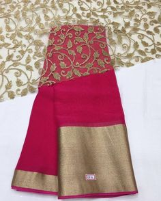 Pink georgette Saree with gold border and gold Emboridery blouse To purchase… Organza Saree, Georgette Sarees, Cotton Saree, Silk Sarees, Sari Blouse Designs, Fancy Blouse Designs, Jute, Inchies, Plain Saree
