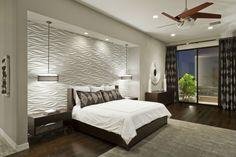 effektvoll beleuchtete weiße 3d Wandplatten in Wellenmuster