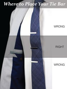 How high you should wear your tie bar (via Tie-a-Tie.net)