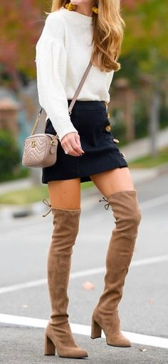 #winter #outfits pair of brown suede thigh-high boots