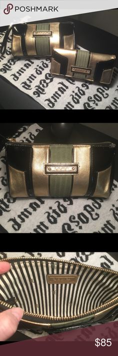 ✨RARE✨Cosmetic Case & Wallet Set💞 Art Deco style cosmetic case & wallet set. Case shows some wear outside as pictured & is very clean inside. Wallet is in good condition throughout. This set reminds me of Gatsby! Gold, black & olive green colors. See pics and ask any questions or lmk if more pics are desired.💋 L.A.M.B. Bags Wallets