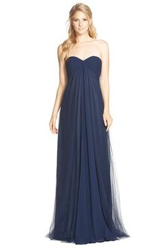 Monique Lhuillier Bridesmaids Strapless Tulle & Chiffon Gown available at #Nordstrom