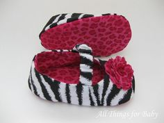 Zebra baby girl shoes mary jane ballet flats by allthingsforbaby, $26.00
