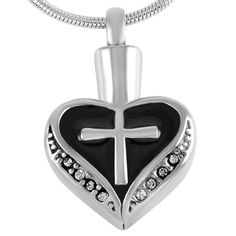 Heart and Cross Urn Necklace for Ashes - Cremation Memorial Keepsake Pendant