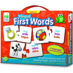 This matching puzzle game is a fun way to teach early reading skills not in one, not in two, but in 3 languages - English, Spanish and French!