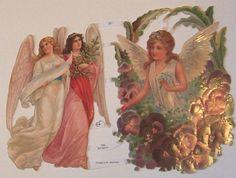 German Victorian Easter Christmas Angels Pansies by TheWisdomTree
