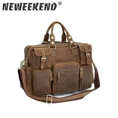 794ba1068a Vintage Crazy Horse Genuine Leather Shoulder Crossbody Travel Bag Men  Duffel Luggage Large Laptop Handbag Tote