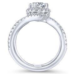 8ef8fc71362954 Celeste 18k White Gold Round Halo Engagement Ring angle 2 Round Halo  Engagement Rings, Princess