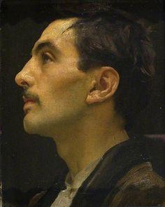 Frederic Leighton (1830-1896), Head of an Italian Model, 1855. #maleform
