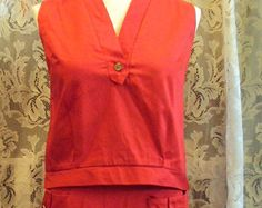 Vintage Fire Engine Red Two Piece Outfit 1960s 38-35-33 - Etsy at RetroRosiesVintage