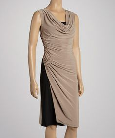 Take a look at this Mocha & Black Cowl Neck Dress by Quiz on #zulily today!