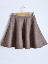 Coffee Tweed Houndstooth A Line Skirt