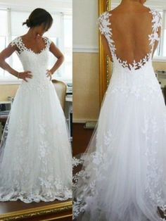 A-Line/Princess V-neck Sweep/Brush Train Lace Sleeveless Tulle Wedding Dresses - Hebeos Online