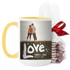 Full of Love Mug, Yellow, with Ghirardelli Peppermint Bark, 15 oz, White