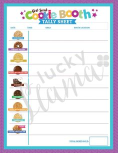 This x 11 cookie tally page will be a huge help during your cookie booth sel. Scout Mom, Girl Scout Swap, Girl Scout Leader, Daisy Girl Scouts, Girl Scout Troop, Junior Girl Scout Badges, Girl Scout Cookie Sales, Brownie Girl Scouts, Girl Scout Cookies