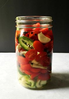 Vodka infused with peppers, tomatoes, celery, garlic and more for a low carb alternative to a Bloody Mary.                                                                                                                                                                                 More