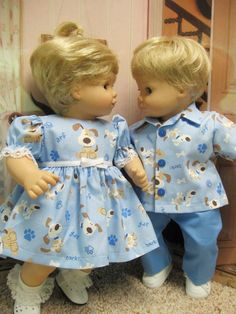 Blue Doggie Outfits for Bitty Baby Twins Dolls by DollClothesByPeg, $23.96
