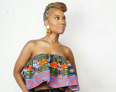 K A B I L A Crop Top gemaakt van Afrikaanse Kente Print stof - The M A J I collectie