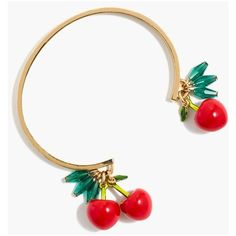 J.Crew Cherry charm cuff bracelet ($25) ❤ liked on Polyvore featuring jewelry, bracelets, charm bracelet bangle, cuff bracelet, hinged cuff bracelet, j crew jewellery and charm bracelet jewelry
