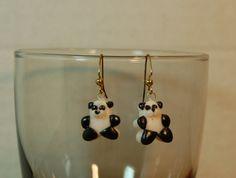 Panda earrings by GingerbreadFaire on Etsy