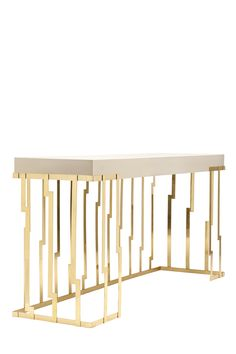 Ginger and Jagger Cliff Console. Glamorous console table will create a dramatic design with its vertical polished brass structure and modern styled rectangular top. Its contemporary design will suit almost any interior and will bring instant luxury. Sideboard Cabinet, Cabinet Furniture, Metal Furniture, Accent Furniture, Table Furniture, Modern Furniture, Home Furniture, Furniture Design, Luxury Furniture