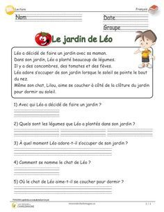 Léo's garden – cycle reading assessment with questionnaire - Modern French Language Lessons, French Language Learning, French Lessons, French Flashcards, French Worksheets, French Verbs, French Grammar, French Teaching Resources, Teaching French