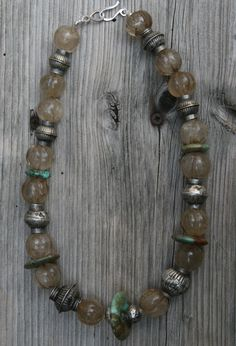 by Anne-marie van Tilborgold | Vintage melon beads, turquoise and silver from Afghanistan