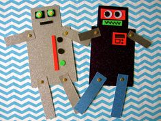 """Robot Friends"": With some creativity and adult assistance, anyone can build a robot with moving limbs & googly eyes! Could be paired with Robots, Robots Everywhere! by Sue Fliess Daycare Crafts, Crafts For Kids, Arts And Crafts, The Wild Robot, Paper Robot, Diy Pour Enfants, Robot Theme, Idee Diy, Crafty Kids"