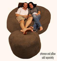 6 ft Bean Bag Chair Sack Chocolate Micro Suede | Comfy Sack