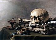 """In the arts, vanitas is a type of symbolic work of art especially associated with still life painting in Flanders and the Netherlands in the 16th and 17th centuries. The Latin word means """"vanity"""" and loosely translated corresponds to the meaninglessness of earthly life and the transient nature of all earthly goods and pursuits. Ecclesiastes 1:2;12:8 from the Bible is often quoted in conjunction with this term. The Vulgate renders the verse as Vanitas vanitatum omnia vanitas [Eccl. 1:2;12:8]"""