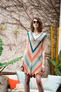 Seaside Dress The bold lines in this crochet dress keep bringing me back to it.