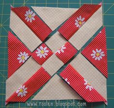 """""""Anita's Arrowhead"""" block - photo from roolen blog; tutorial is in Russian, but the photos are easy to follow; block designed by Anita Grossman Solomon"""