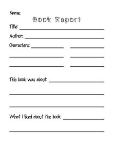 this is a basic book report template for students to demonstrate basic reading comprehension and writing