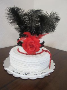 """Roaring 20's themed 30th birthday cake. If you look closely, there is a black ceramic topper on top that says """"30"""""""
