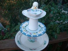 Baby Bird Centerpiece / Pedestal / Dessert Tray / Jewelry Holder / Bird Feeder