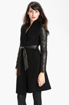Dawn Levy 'Minka' Wool & Leather Coat | Nordstrom