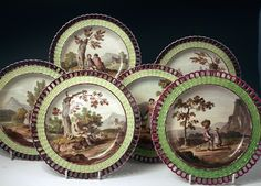 SET OF 6 HERCULANEUM LIVERPOOL ARCADED BORDER POTTERY PLATES - Art & Antiques Online - CINOA